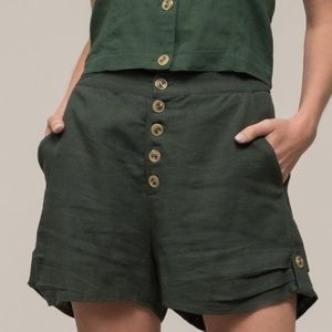 Moon River Button Front Short; Pine Green